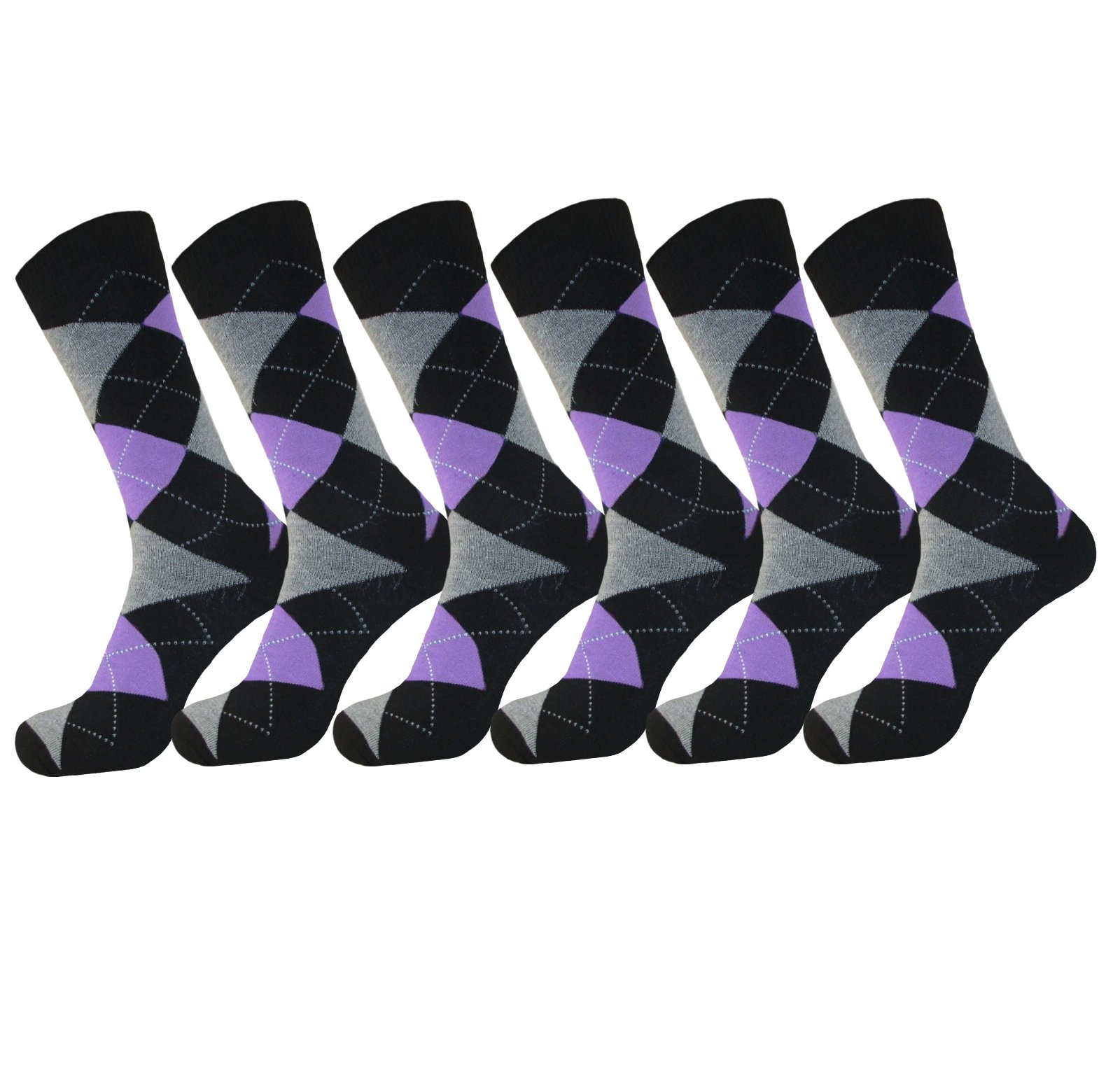 MENS ARGYLE PURPLE DRESS SOCKS COTTON BLEND 6 PAIR ROYAL CLASSIC 10-13
