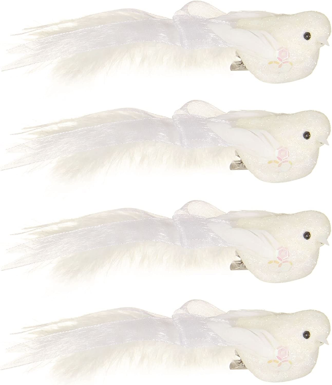 Gisela Graham White Dove with Feather Wings on a Clip Christmas//Wedding 13cm