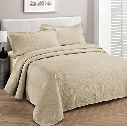 Fancy Collection 3pc Luxury Bedspread Coverlet Embossed Bed Cover Solid  Beige New Over Size 118u0026quot;