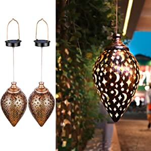 ZSZMFH 2 Pack Hanging Solar Lights,Outdoor Garden Light,Solar Lantern LED Star Moon Waterproof Retro Metal Light for Porch Garden Outdoor