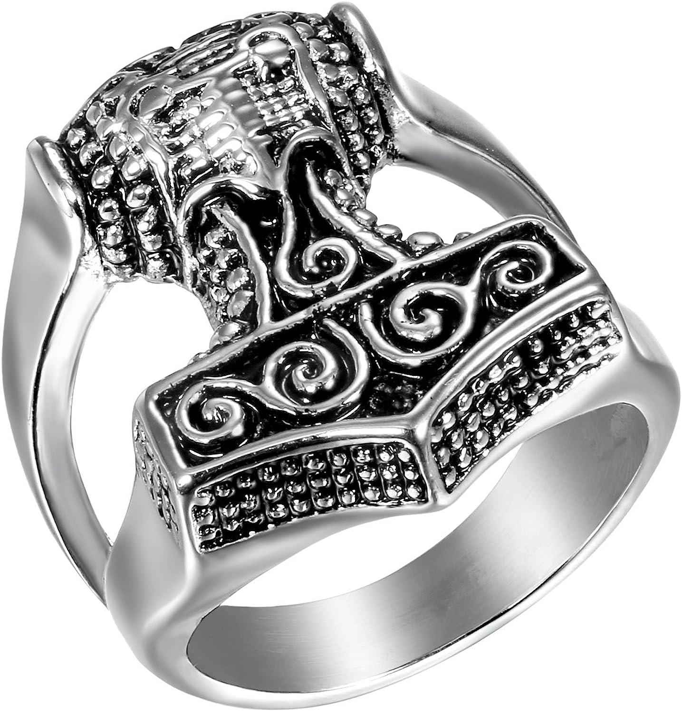 JewelryWe Anillo de Compromiso de Hombre Anillo de Sello Grande ...