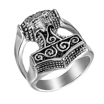 JewelryWe Anillo de Compromiso de Hombre Anillo de Sello Grande, Anillo Acero Inoxidable Plateado Celta Anillo Vikingo Retro Vintage, Talla Grande ...