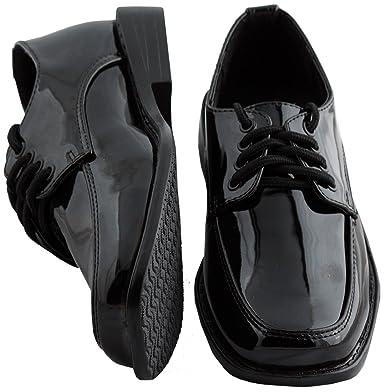 free shipping 8dab4 ddfbf Toddler Boys Black Square Toe Tuxedo Shoes - Size 1