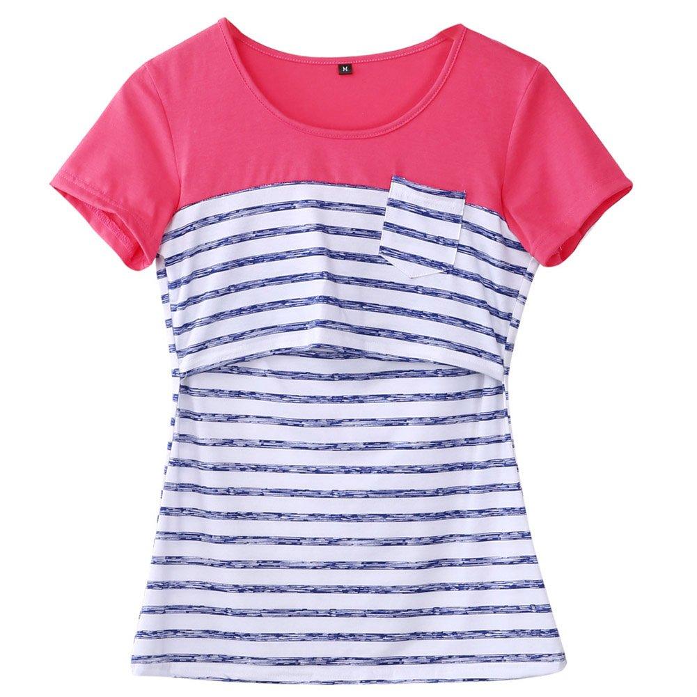 Women Breastfeeding Shirt Striped Patchwork Short Sleeve Maternity Breastfeeding and Nursing Tops (S, Blue Stripe)