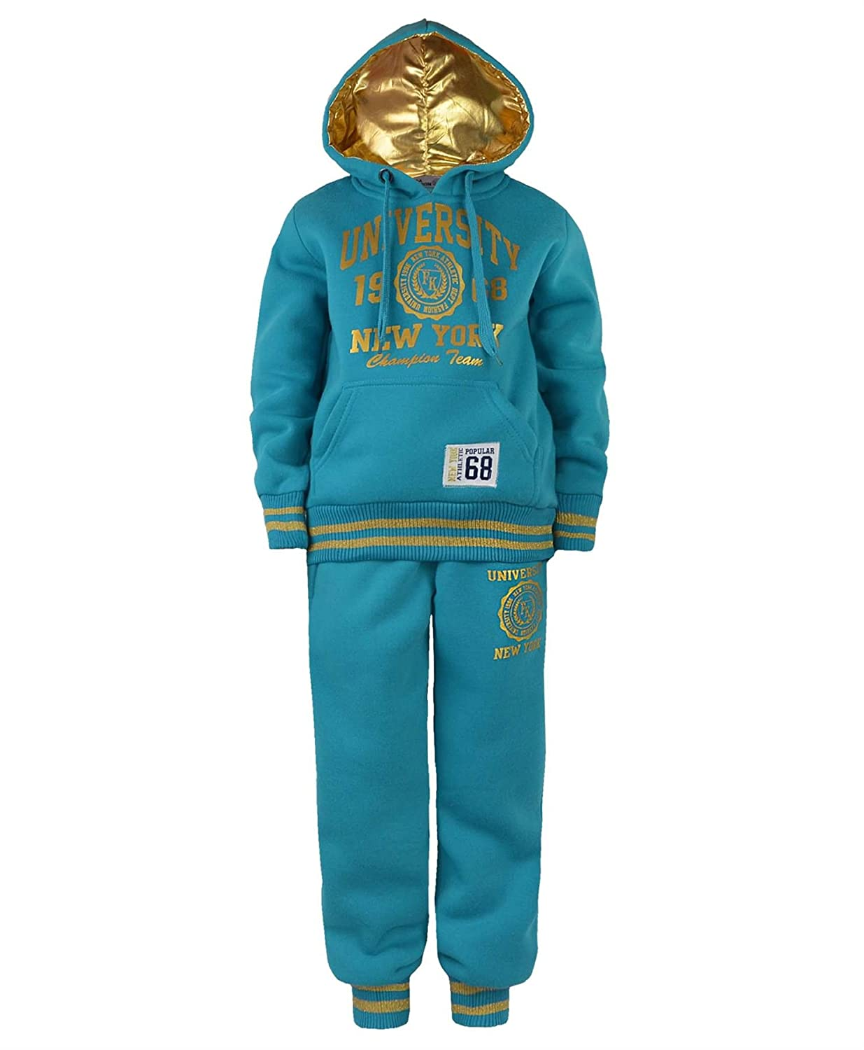 3193096328f77 Kids University Tracksuit Hooded Top Jogging Bottoms Girl Boys 2 Piece Suit