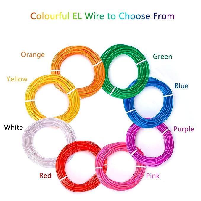 Amazon.com: Zitrades El Wire Blue Super Bright Portable El Wires ...