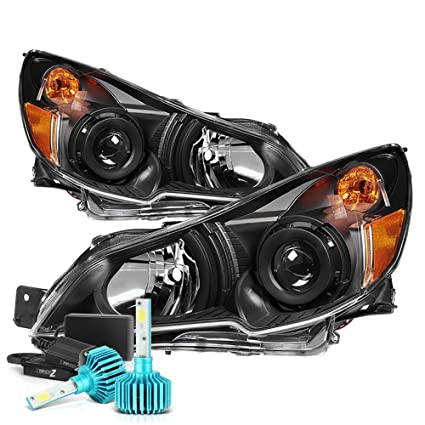 Vipmotoz Black Housing Oe Style Projector Headlight Headlamp Assembly For 2010 2014 Subaru Legacy Outback Built In Rainbow Rgb Led Low Beam