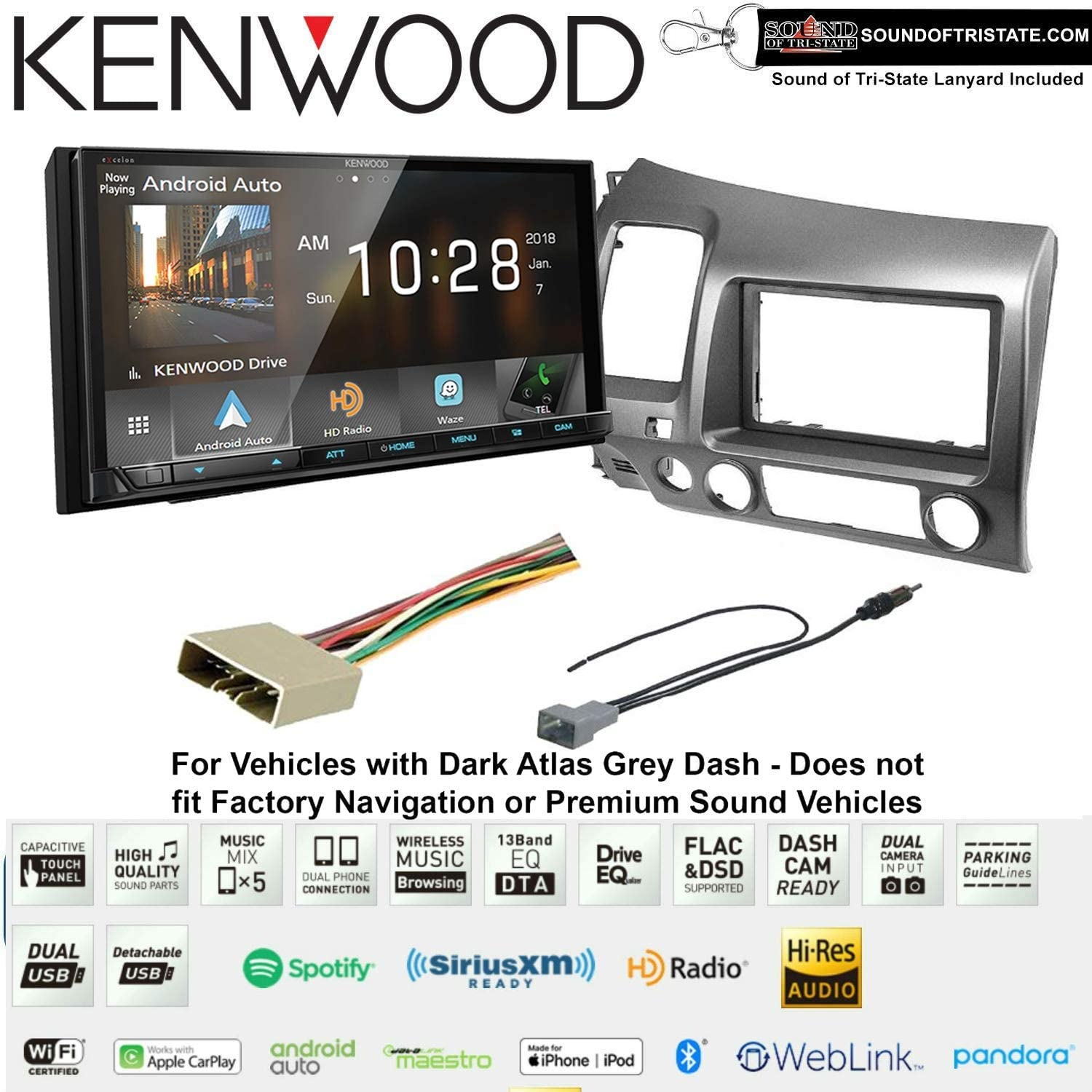 Honda Civic Kenwood 2018 Spotify Sirius Stereo Taupe Dash Kit Harness for 06