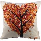 HOSL P45 Cotton Linen Thow Pillow Case Decorative Cushion Cover - Autumn Love Tree