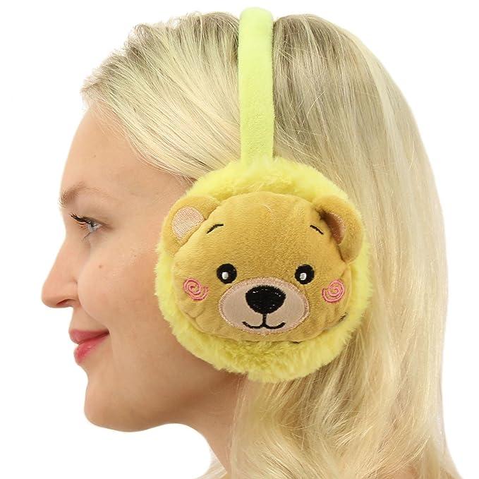 Winter Cute Furry Plush Bear Soft Faux Fur Headband Earmuffs Earwarmer Ski  Yellow  Amazon.ca  Clothing   Accessories 059466347cb