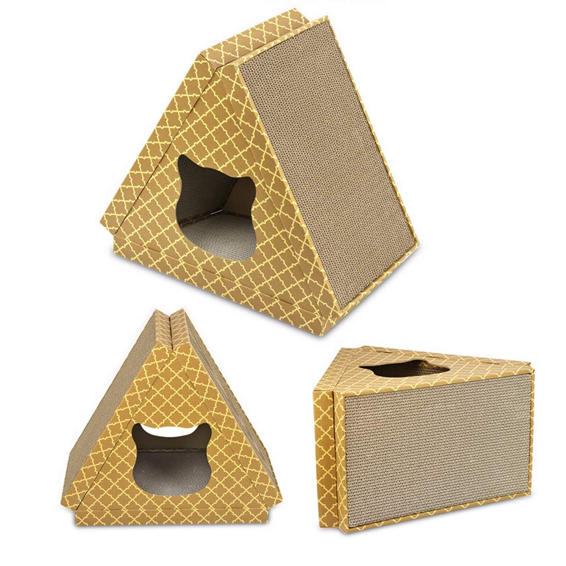 Triangular flat pattern cat house LiShihuan Four Seasons Triangle Flat Cat House Cat Scratch Board Cat Pet Claw Toy Cat Litter (color   Triangular flat pattern cat house)