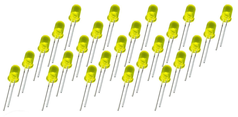 25 pezzi LED 5 mm colore giallo diffusa 20 ma per Arduino Raspberry Pi fai da te MissBirdler 4260509781961