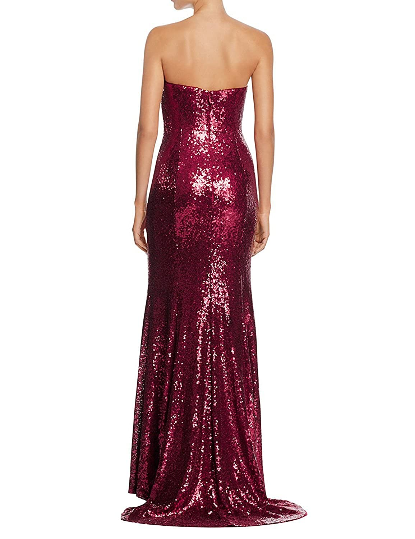 Womens Sweetheart Sleeveless Sequined Black Straight Long Prom Dresses with Slit: Amazon.co.uk: Clothing