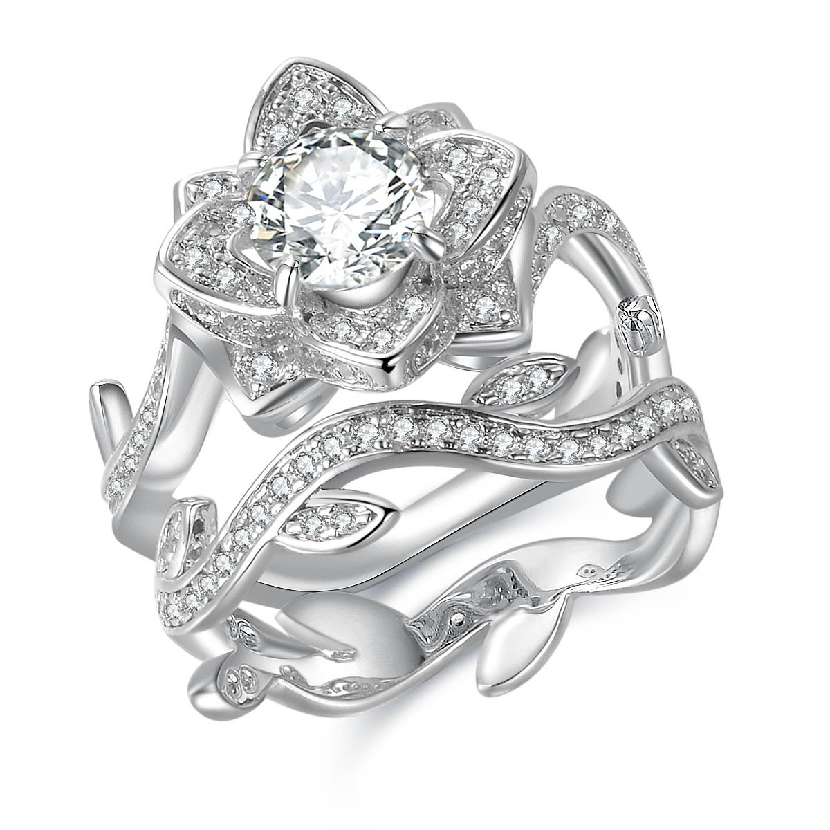 Newshe Jewellery Flower Wedding Band Engagement Ring Set Women 925 Sterling Silver Round White Cz