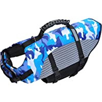 Dog Life Jacket Songway Pet Floatation Life Vest Dog Lifesaver Preserver Swimsuit with Handle for Water Safety at Beach, Pool, Boating (Large)