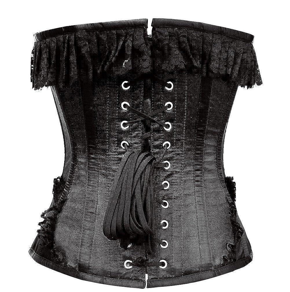 Corset victoriano con encaje negro metal original, 214 negro 22: Amazon.es: Ropa y accesorios