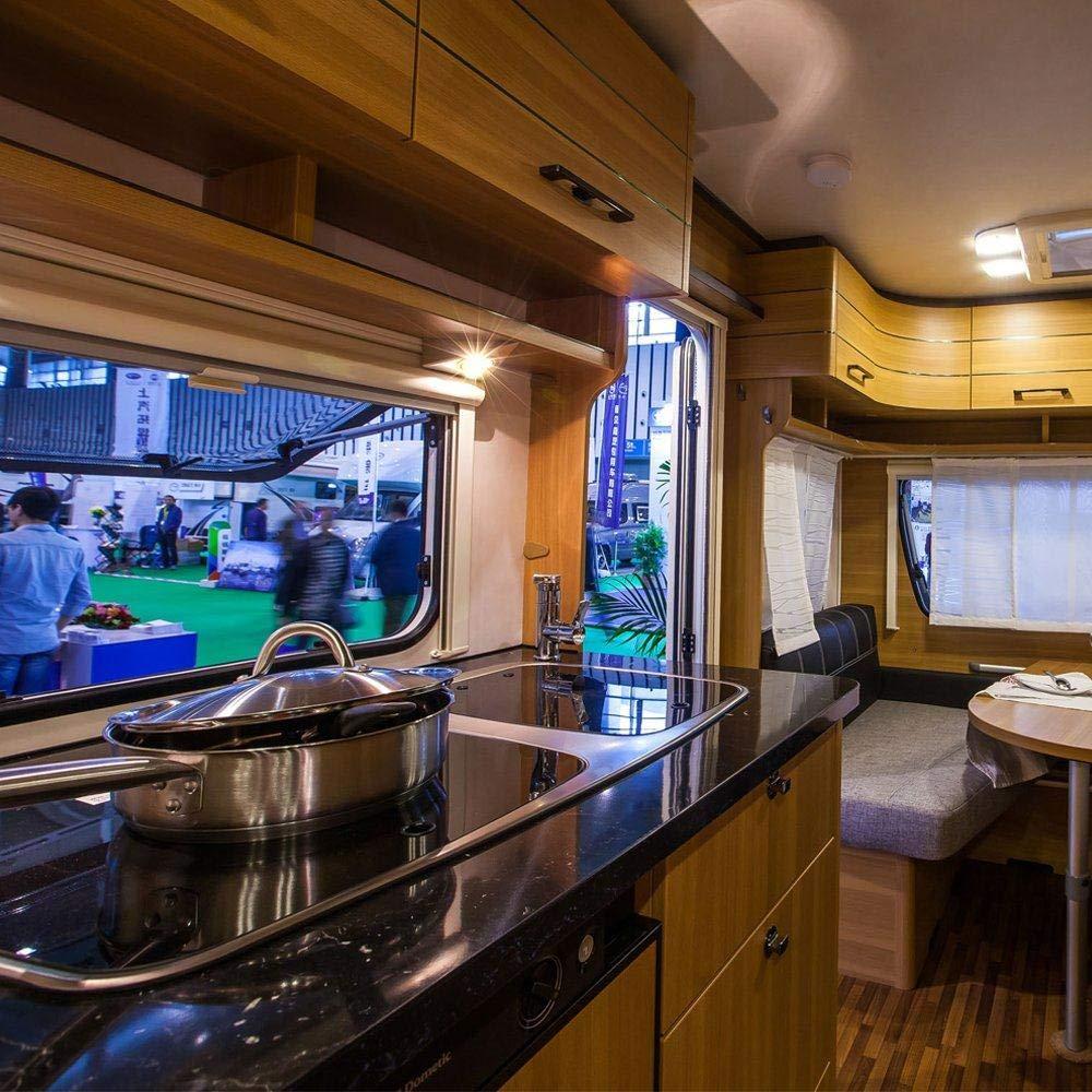 RV Interior Light HugeAuto LED Ceiling Dome Light DC 12V 9W Downlight for Campervan Caravan Motorhome Chrome Warm Boat White-12V C White 2P