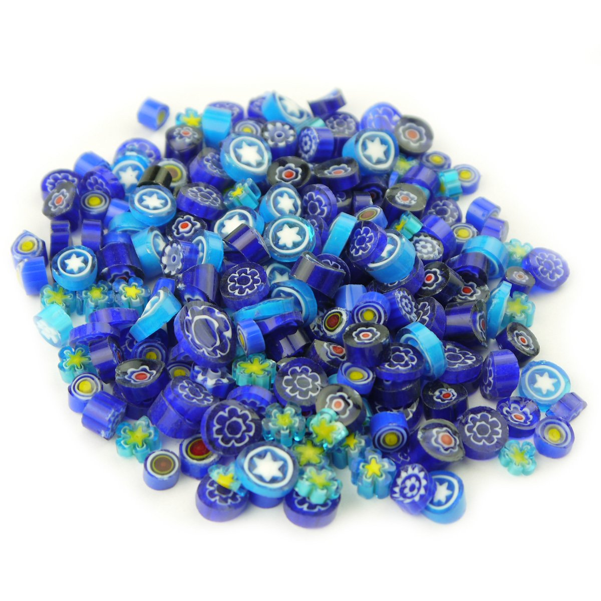 MS 100g appr. 100Pcs Blue Colors Venice Hand Fusible Glass Beads Mosaic Charms