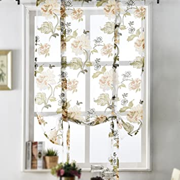 Rfkms Rustikal Floral Sheer Vorhange Embroideied Peony Tull Voile