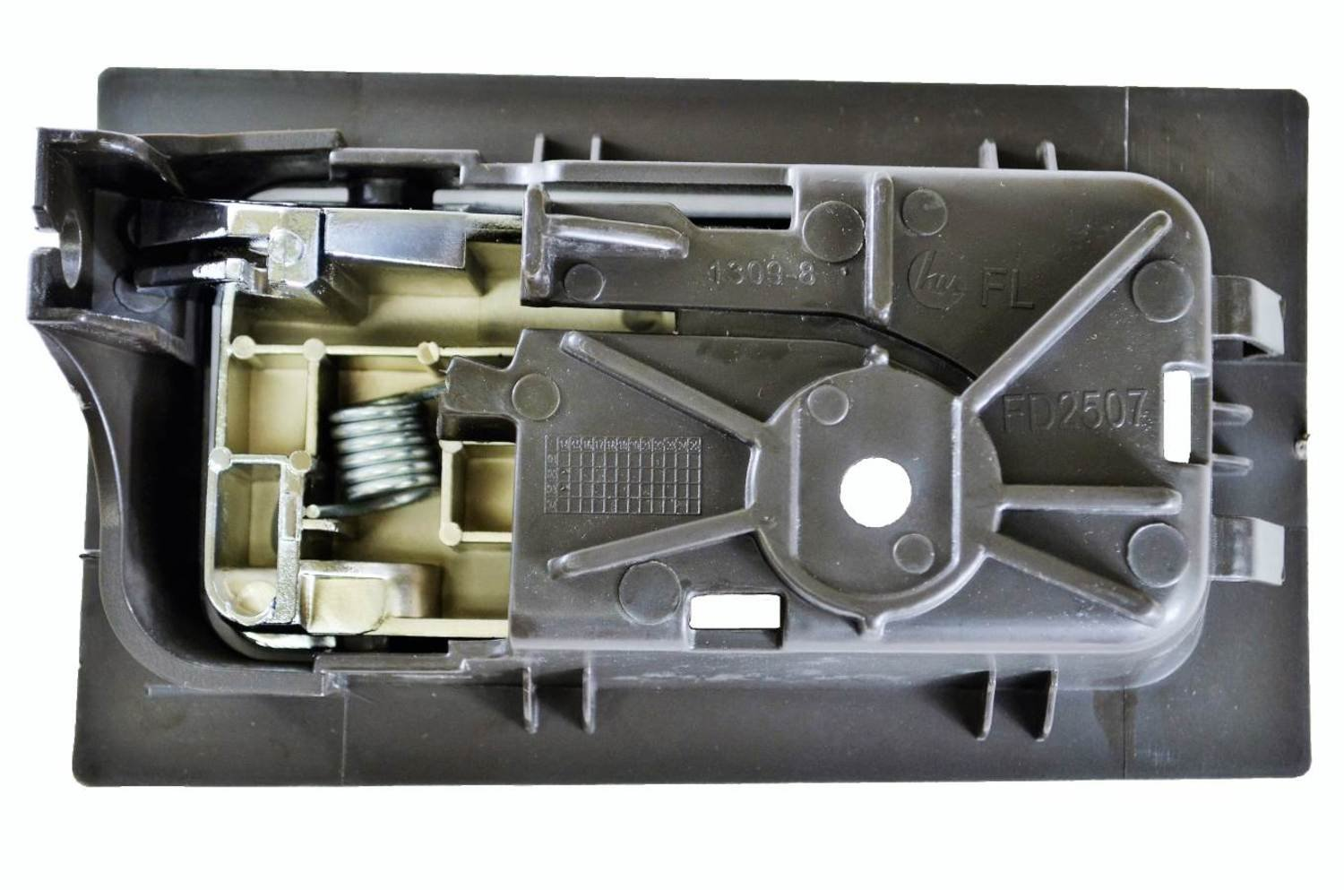 Gray Housing with Chrome Lever Driver Side Rear PT Auto Warehouse FO-2507MG-RLH with Power Locks Interior Inner Inside Door Handle for Crew Cabs ONLY