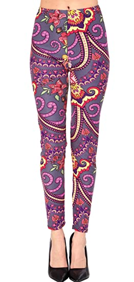 4ed5a3a67d12d VIV Collection Regular Size Printed Brushed Leggings (Circus Paisley ...