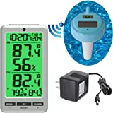 Ambient Weather WS-25 Wireless 8-Channel Floating Pool and Spa Thermometer with Indoor Temperature and Humidity with AC Adapter