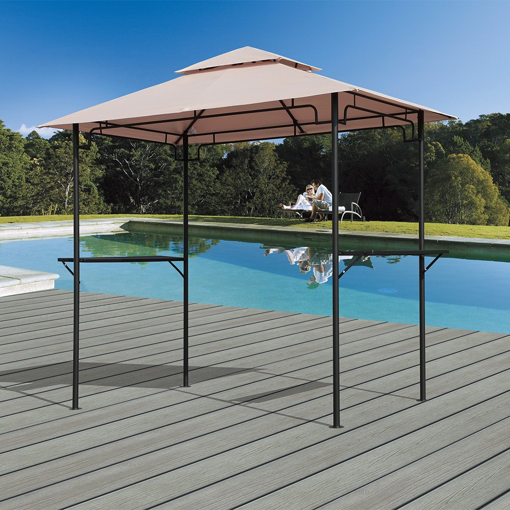 PATIOROMA 8' by 5'Steel Outdoor Backyard BBQ Grill Gazebo with 2-Tier Soft Top Canopy, Beige