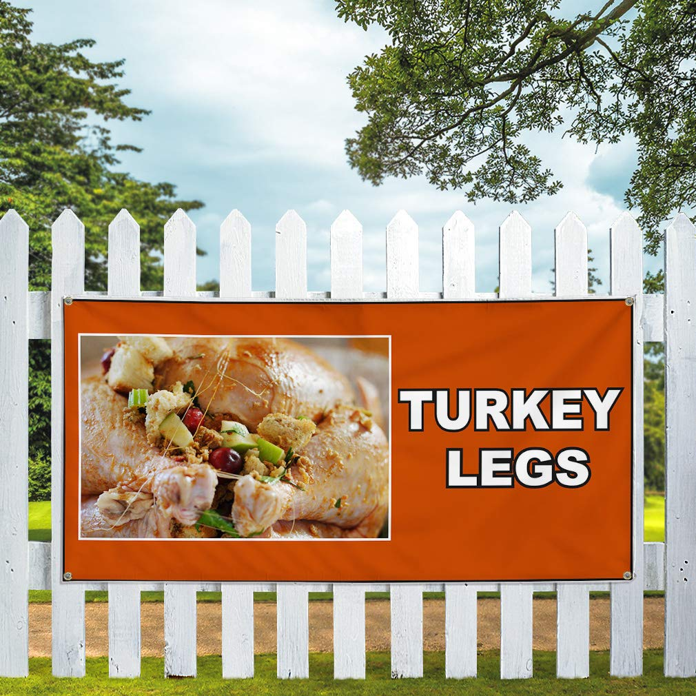 One Banner 48inx96in 8 Grommets Multiple Sizes Available Vinyl Banner Sign Turkey Legs Orange White Outdoor Marketing Advertising Orange