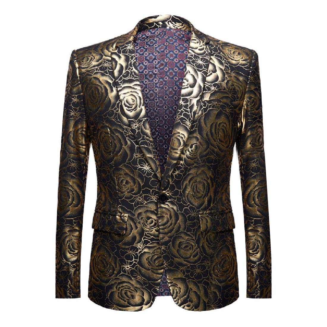 Comaba Mens Big /& Tall Oversized Bronzing Uniform Jacket Blazer