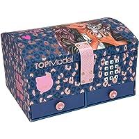 Depesche TOPModel Leo Love 11329 - Joyero con código y sonido, diseño de leopardo morado, 15,7 x 20 x 12,5 cm, con…