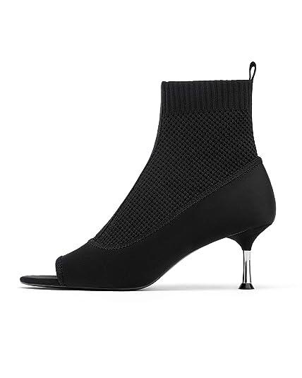 bd177f53767 Zara Women s Stretch Fabric high Heel Sock Ankle Boots 3114 001 (2 UK)