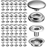 100pcs 15MM Stainless Steel Fastener Snap Press Stud Button for Marine Boat Canvas (4 Components, 25 for Each)