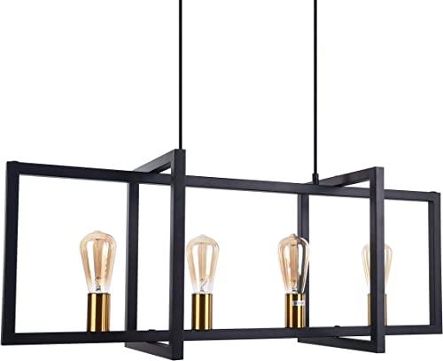 Modern Industrial Island Pendant Lighting Fixtures 4 Lights ,BENNY LIGHTING Black Chandelier Light Fixture for Kitchen Dining Room Ceiling