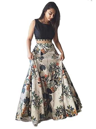 b369202e9e401 DC Elements Indian Ethnic High Waist Skirt Crop Top Lehenga Choli Floral  Flower Print Blouse Lengha (Black)  Amazon.co.uk  Clothing