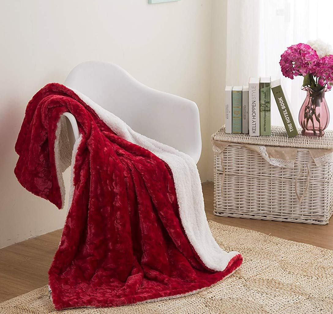 """DaDa Bedding Luxury Hearts in Love Bed Blanket - Christmas Plush Faux Fur Sherpa Fleece Throw Blanket - Super Soft Warm Cuddly Fuzzy Embossed Solid Pomegranate Red Queen Size Large Double- 90"""" x 90"""""""
