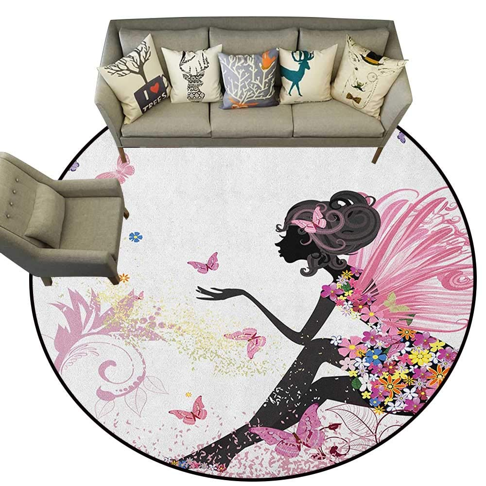 Style10 Diameter 36(inch& xFF09; Girls,Mat Fashion Woman with Dandelion Flower Spring Wind Garden Sketchy Illustration D54 Indoor Outdoor Rubber Mat