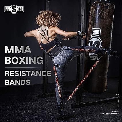 INNSTAR Lot de bandes de résistance pour entraînement de boxe, MMA, MMA,  MMA, équipement d'entraînement de force explosive pour Muay Thai, karaté,  fitness, basket-ball, volley-ball, football homme et femme, 125LB:  Amazon.fr: Sports