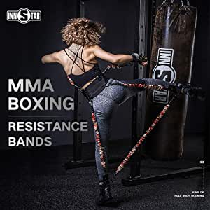 INNSTAR MMA Boxing Training Resistance Belt Band Set Power Punch Pro Strength Training Equipment for Muay Thai,Karate Combat,Fitness,Basketball,Volleyball,Football Men&Women