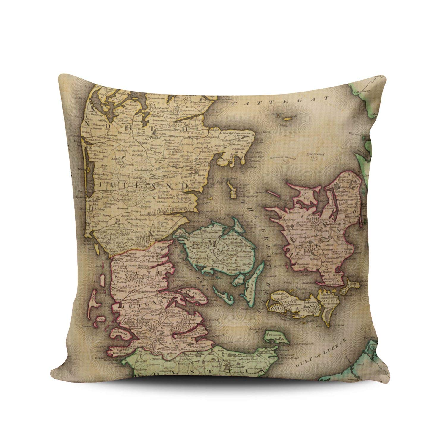 Marble World Map in Light Grey and Brown Pillowcase Home Life Cotton Cushion Case 18 x 18 inches