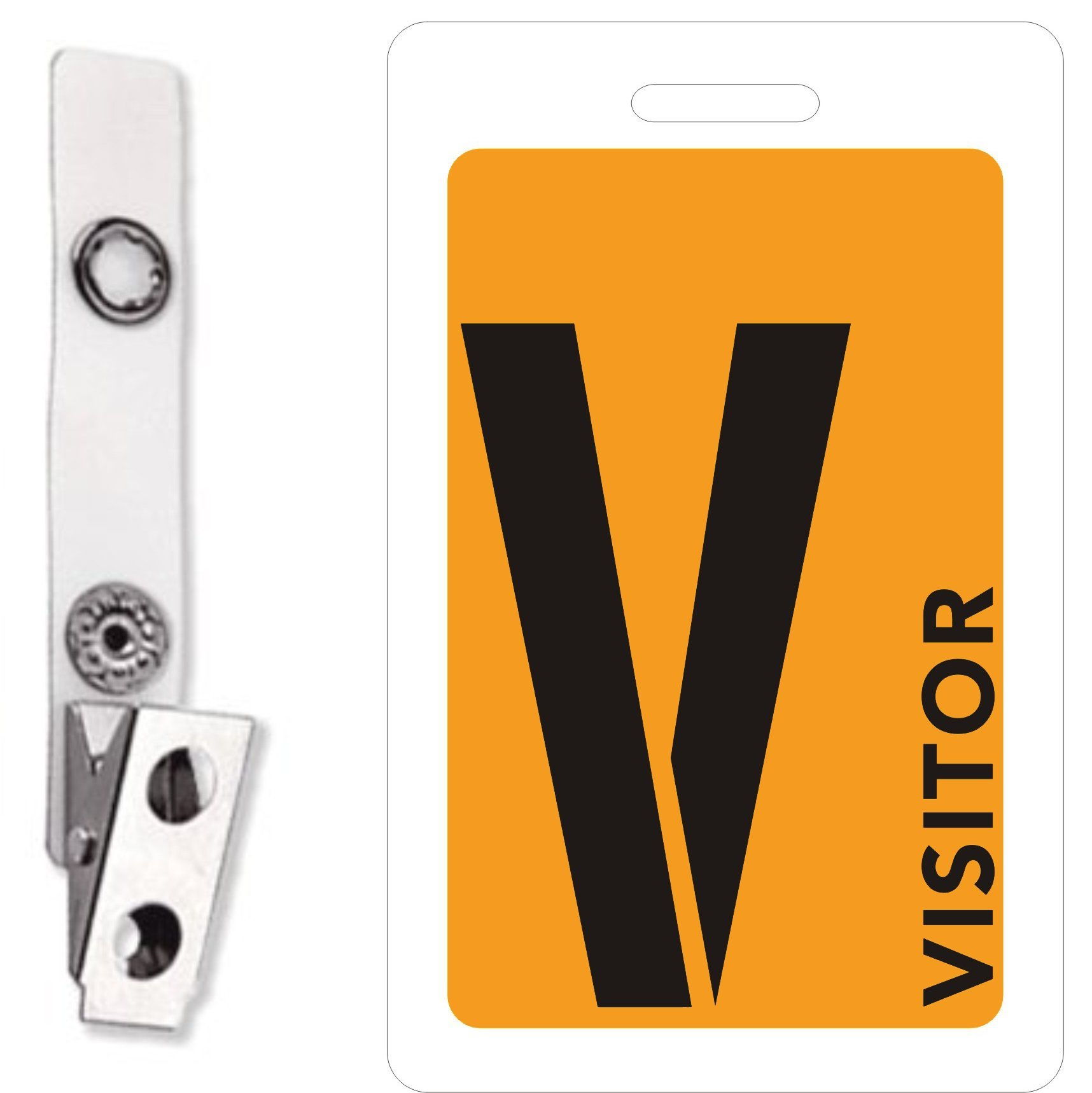 MESS Visitor Badges ID With Clips (Orange) 5-Piece Set for Identification and Safety (3.4 Inches x 2.1 Inches)