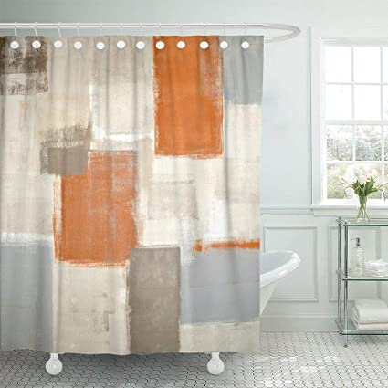 Emvency Fabric Shower Curtain With Hooks Gray Contemporary Beige And Orange Abstract Painting Brown White Blocks