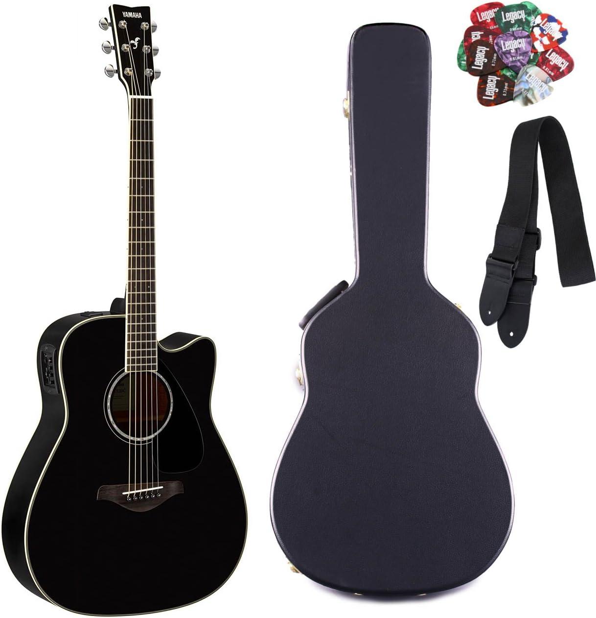 Yamaha fgx830 C Folk Guitarra acústica con cutaway guitarra eléctrica, sólido, palisandro parte trasera y laterales, con Legado accesorio Bundle, muchas opciones: Amazon.es: Instrumentos musicales