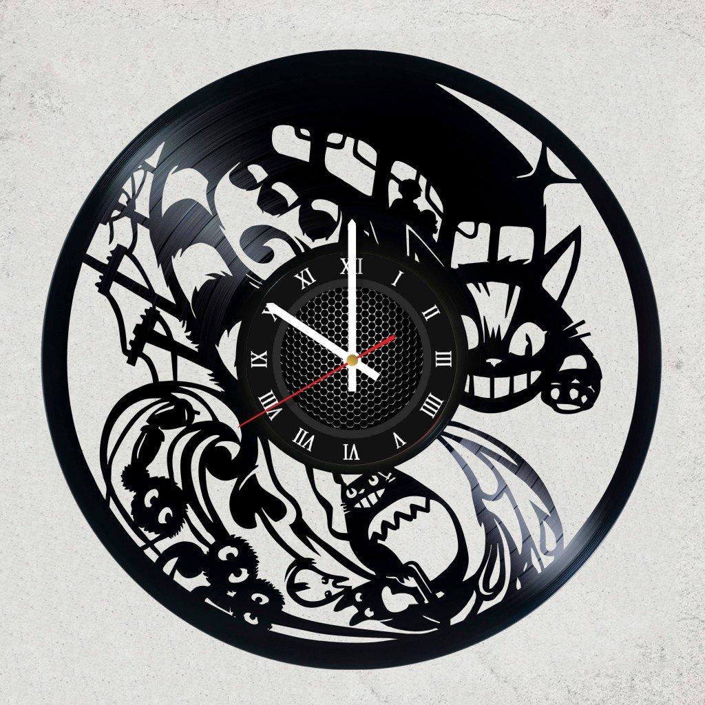 STUDIO GHIBLI VINYL WALL CLOCK - Cute gift for girl or fan anime - Best Japanese animation film GHIBLI STUDIO - merchandise gifts for kids bedroom decoration Totoro