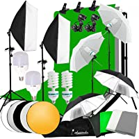 Abeststudio Photo Studio LED Light Softbox Continuous Lighting Kit,4x 1.6*3m Backdrops(Black White Green Gray ), 2x 135W Bulb 2x 25W LED Lamp 2x Softbox, 4x Umbrella, 4x Light Stand, 2*3m Background Support Stand + 60cm 5 in 1 Reflector Panel