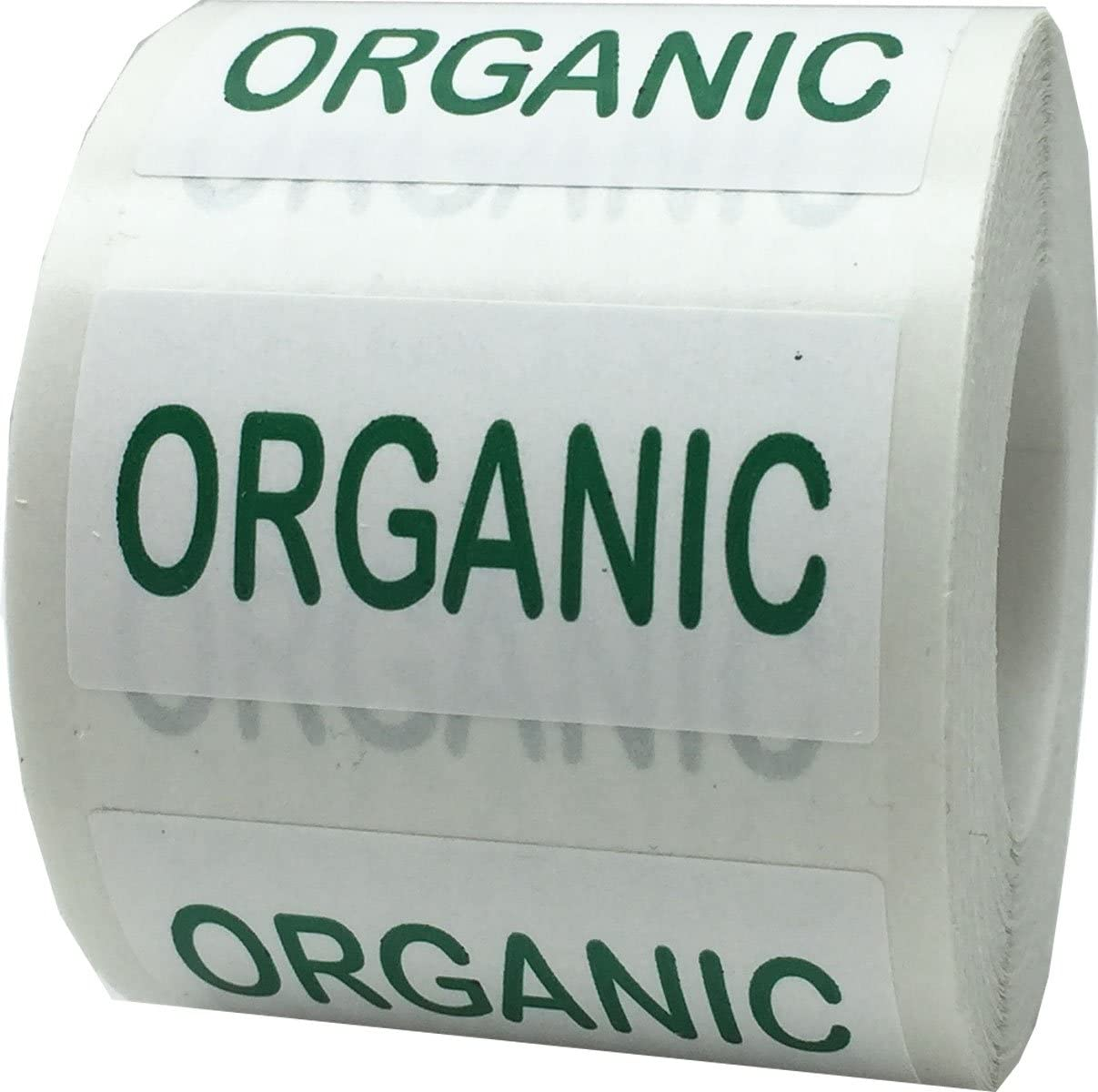 White with Green Organic Rectangle Stickers, 3/4 x 1.5 Inches in Size, 500 Labels on a Roll