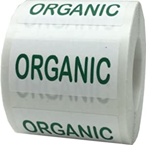 """Organic Yellow /& Green LABELS 500 PER ROLL STICKERS 1.25/"""" X 2/"""" Size"""
