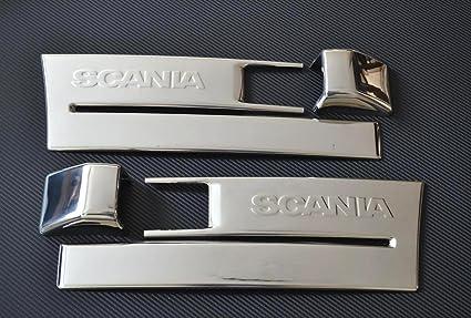4 embellecedores para peldaños de acero inoxidable y para luces intermitentes laterales, para Scania