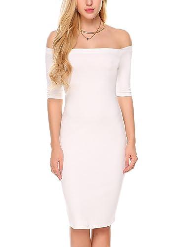 Zeagoo Women Elbow Sleeve Back Slit Off Shoulder Midi Sheath Bodycon Cocktail Dress