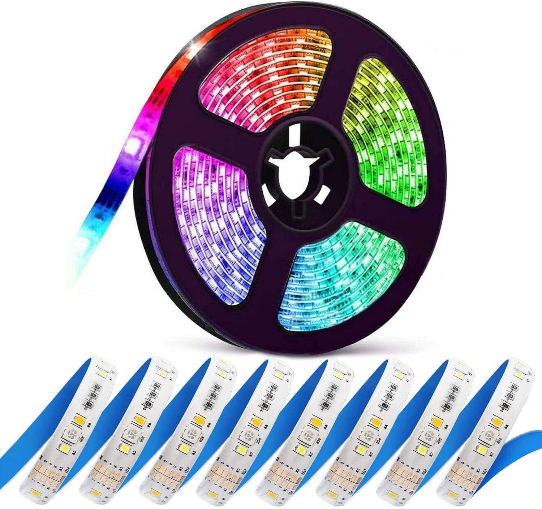 ElecGear Tiras LED, Luces LED RGBCCT, 5m, DC 24V, 450 LED, Cambio de Color RGB de 16M y Blanco Doble (Frío 6500K, Cálido 2700K), Impermeable IP65 con Cable de 2m y Conectores de Clip de Bricolaje