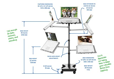 Amazon LEVO Rolling Laptop Workstation Stand For Laptops Books Tablets Art Etc Office Products